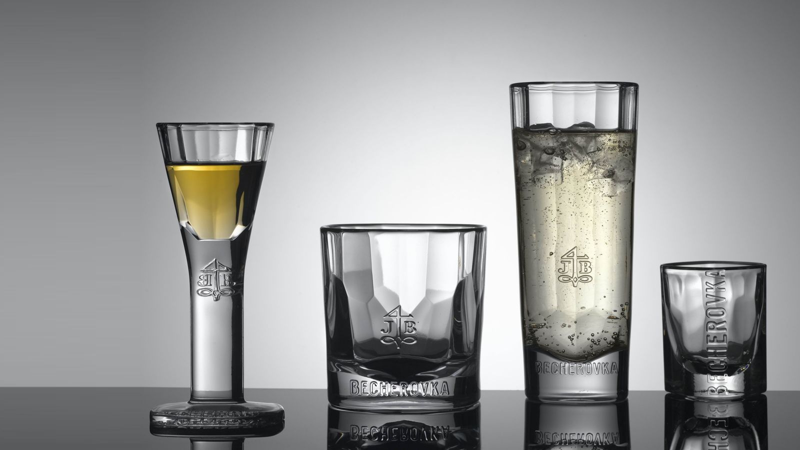 Glass collection for Becherovka